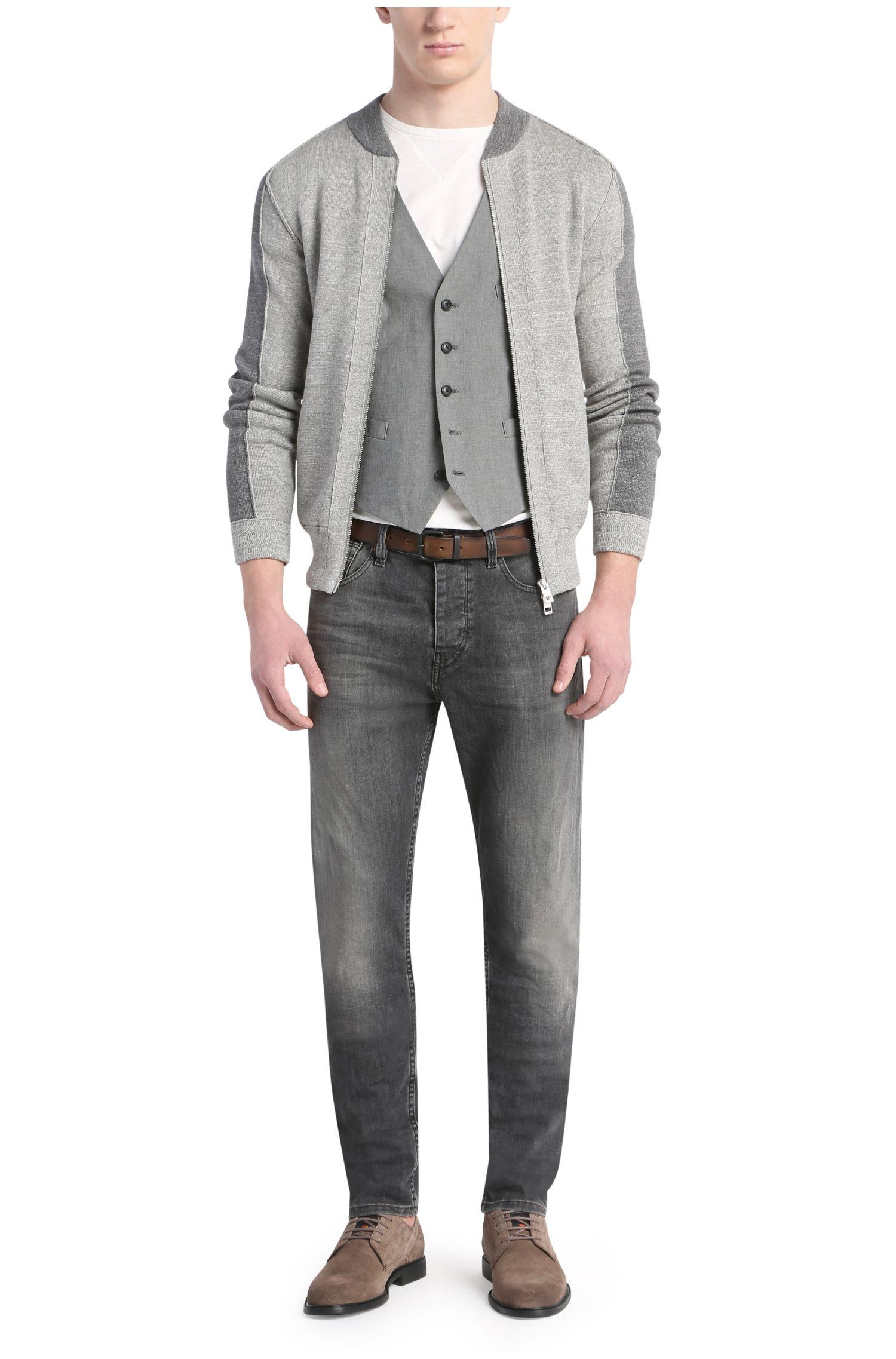 Veste en maille de coton Slim Fit à effet bicolore: «Kabomer»