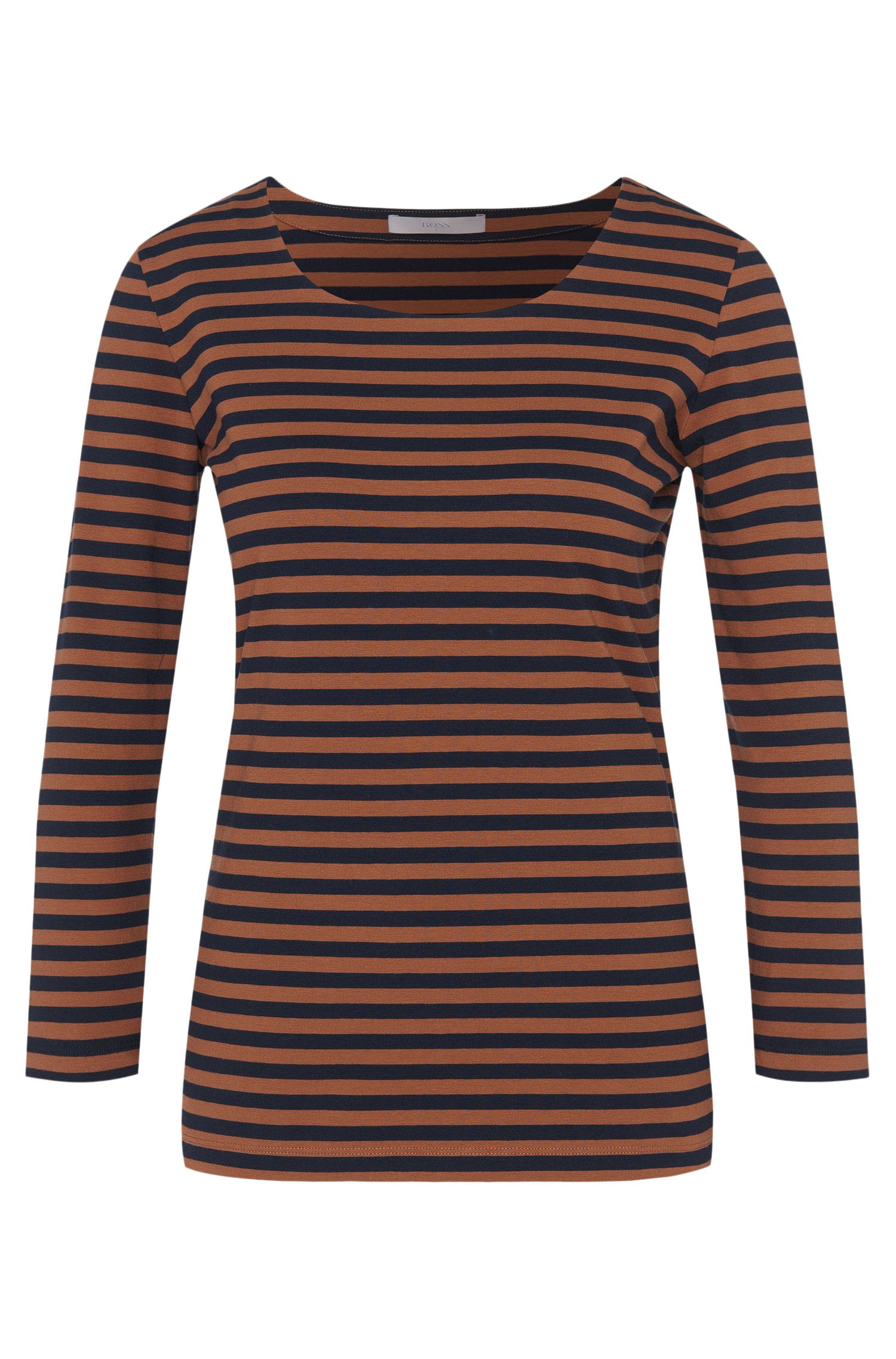 T-shirt rayé en coton extensible, avec manches 3/4: «Emmisa»