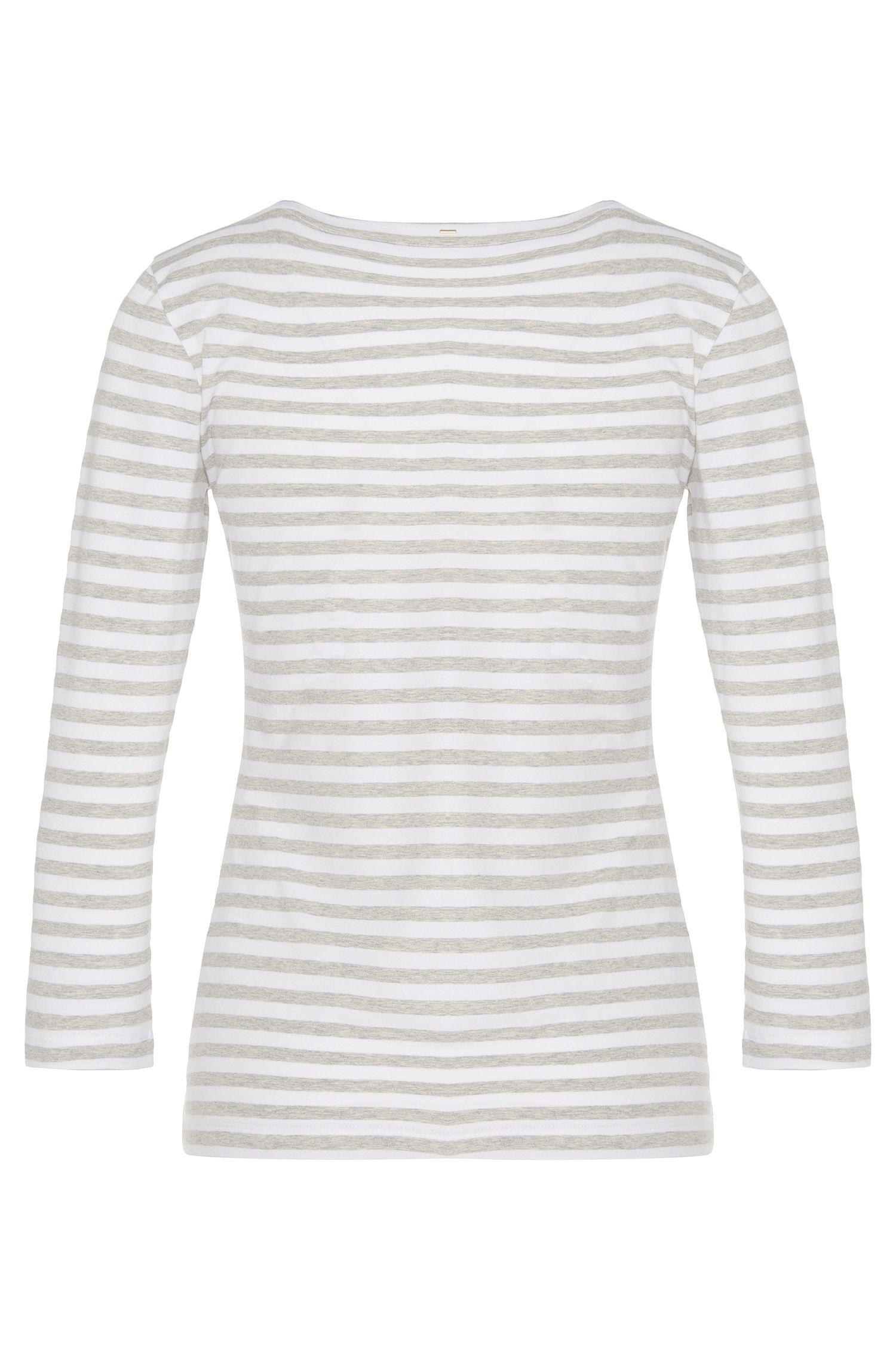 Gestreiftes Shirt aus Stretch-Baumwolle mit Dreiviertel-Ärmeln: 'Emmisa'