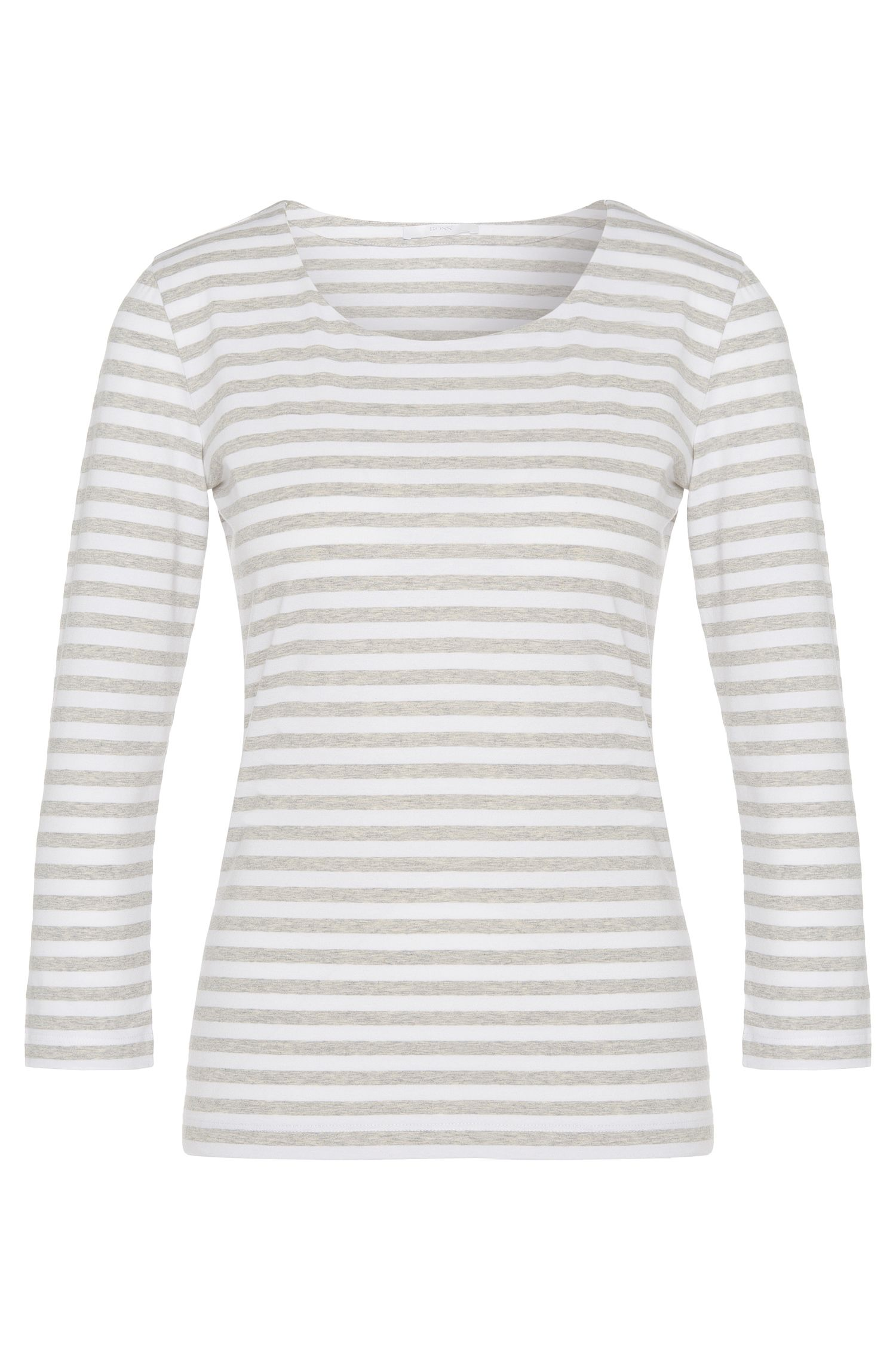 Striped shirt in stretch cotton with 3/4-length sleeves: 'Emmisa'