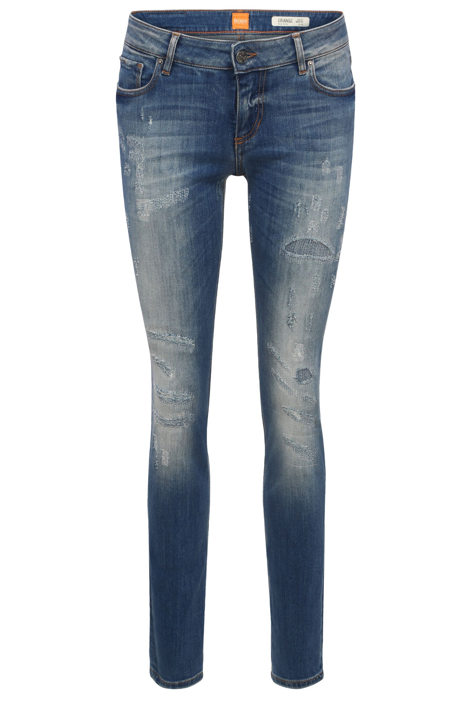 Slim-Fit Jeans aus elastischem Baumwoll-Mix: ´Orange J20`