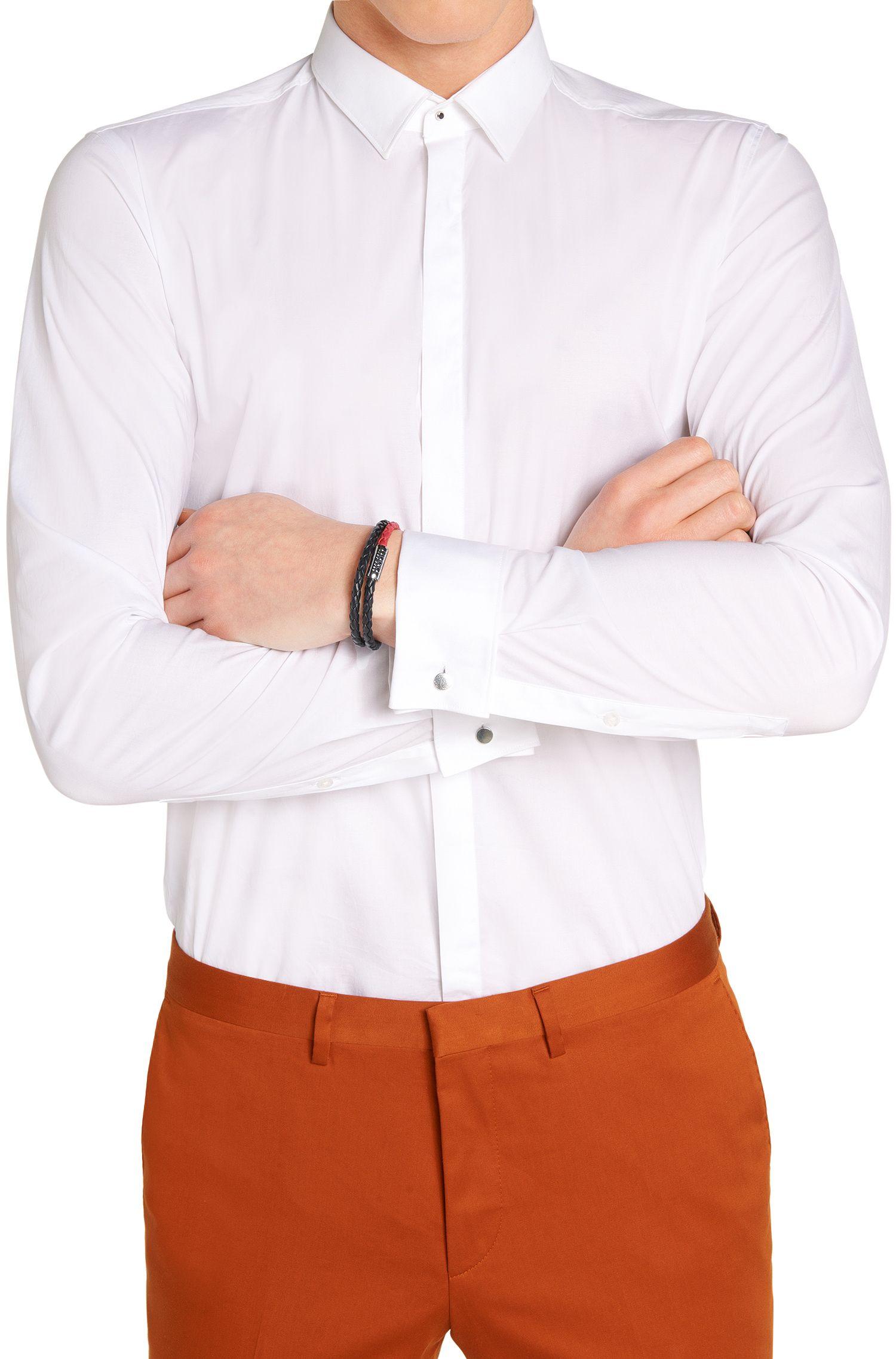 Zweifarbiges Wickelarmband aus Leder: 'E-BIBRAID'