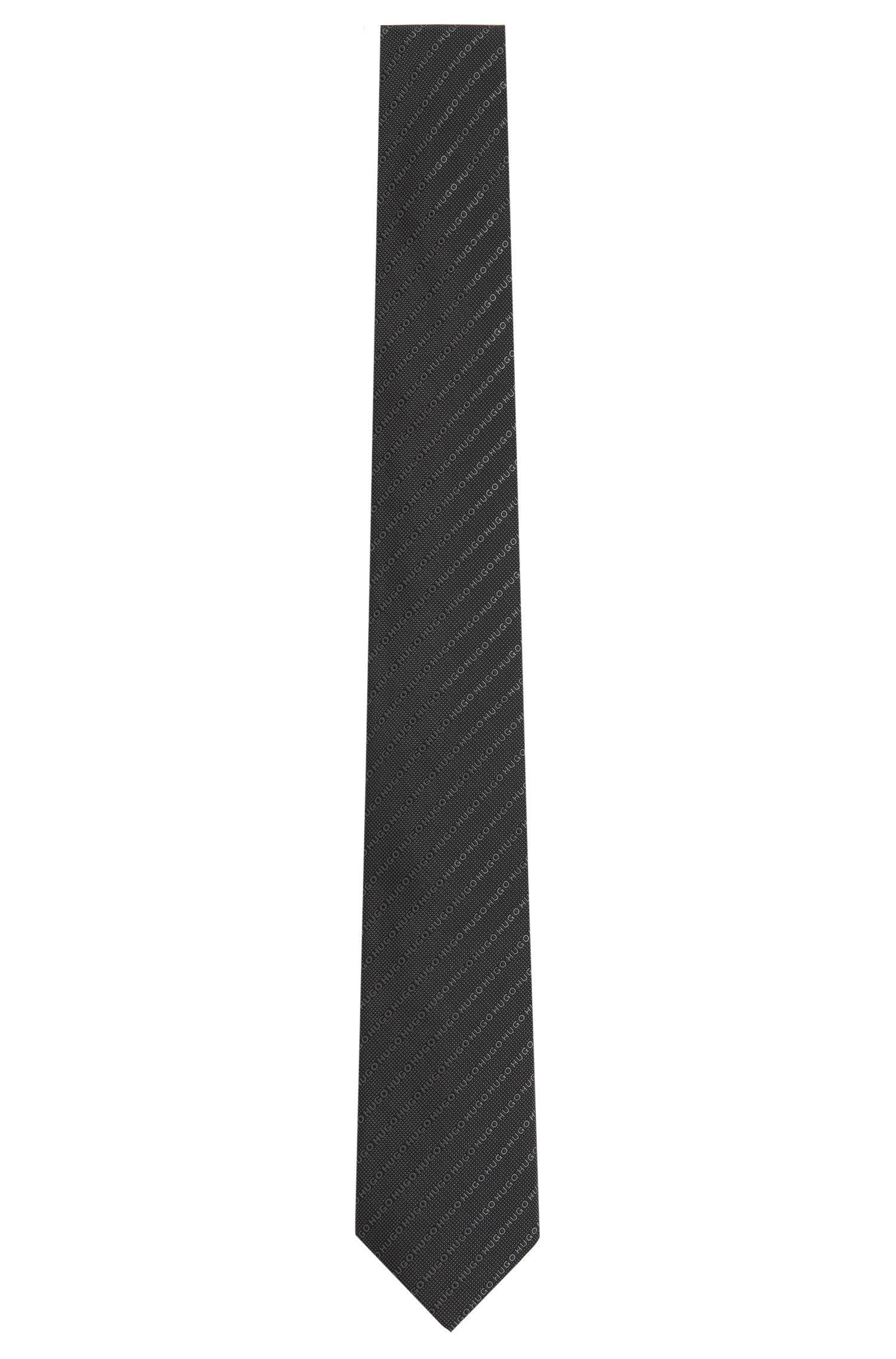 Seidenkrawatte mit Logo-Schriftzügen: 'Tie 6 cm'