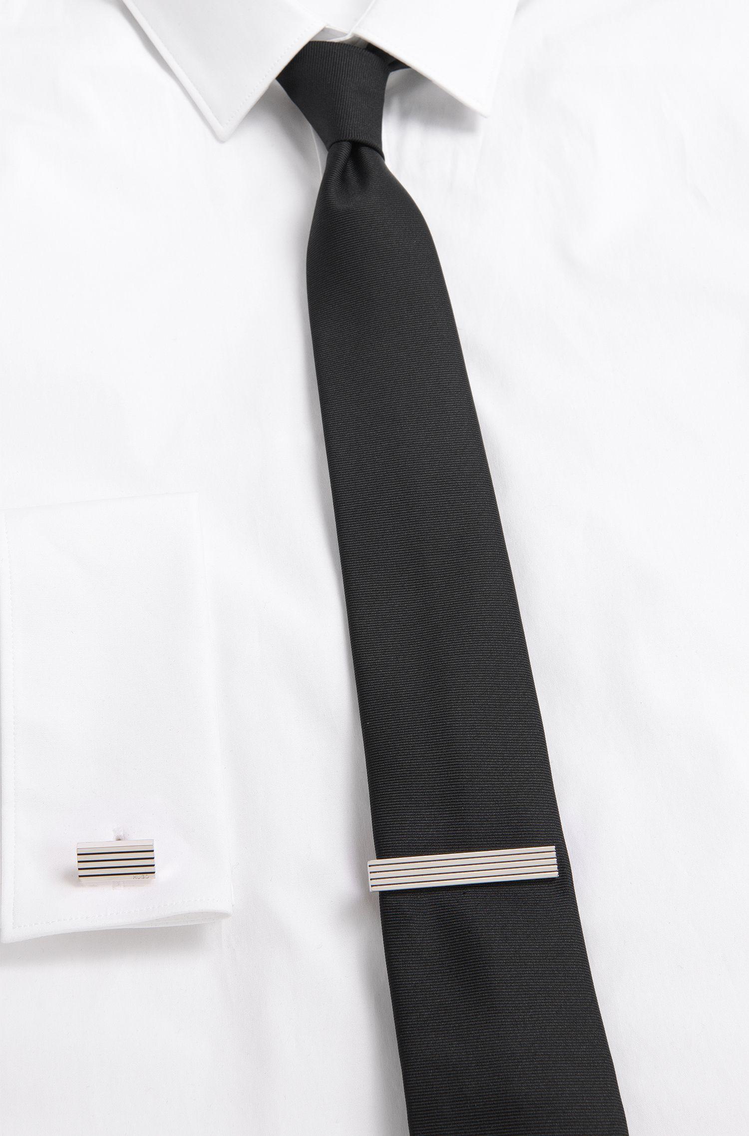 Krawattennadel mit dekorativen Einkerbungen: 'E-FOUR STRIPES-TIE B'