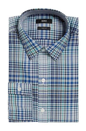 Kariertes Slim-Fit Hemd aus reiner Baumwolle: 'Robbie_1', Hellgrün