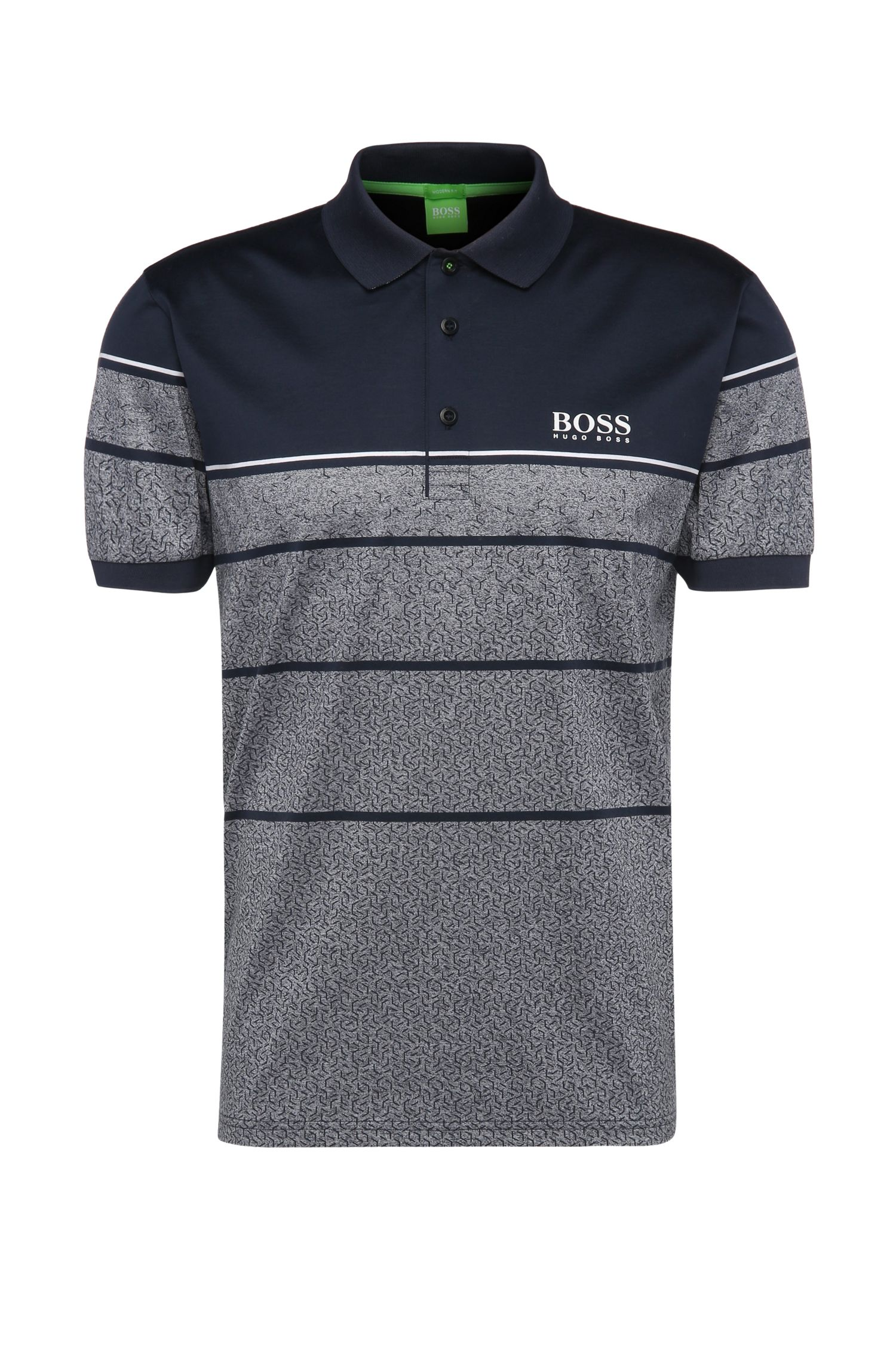 Striped regular-fit golf polo shirt in pure cotton: 'Paddy Pro 2'