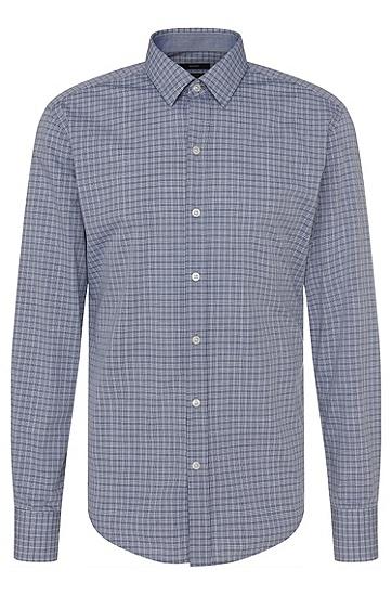 Kariertes Slim-Fit Hemd aus reiner Baumwolle: 'Robbie_1', Dunkelblau