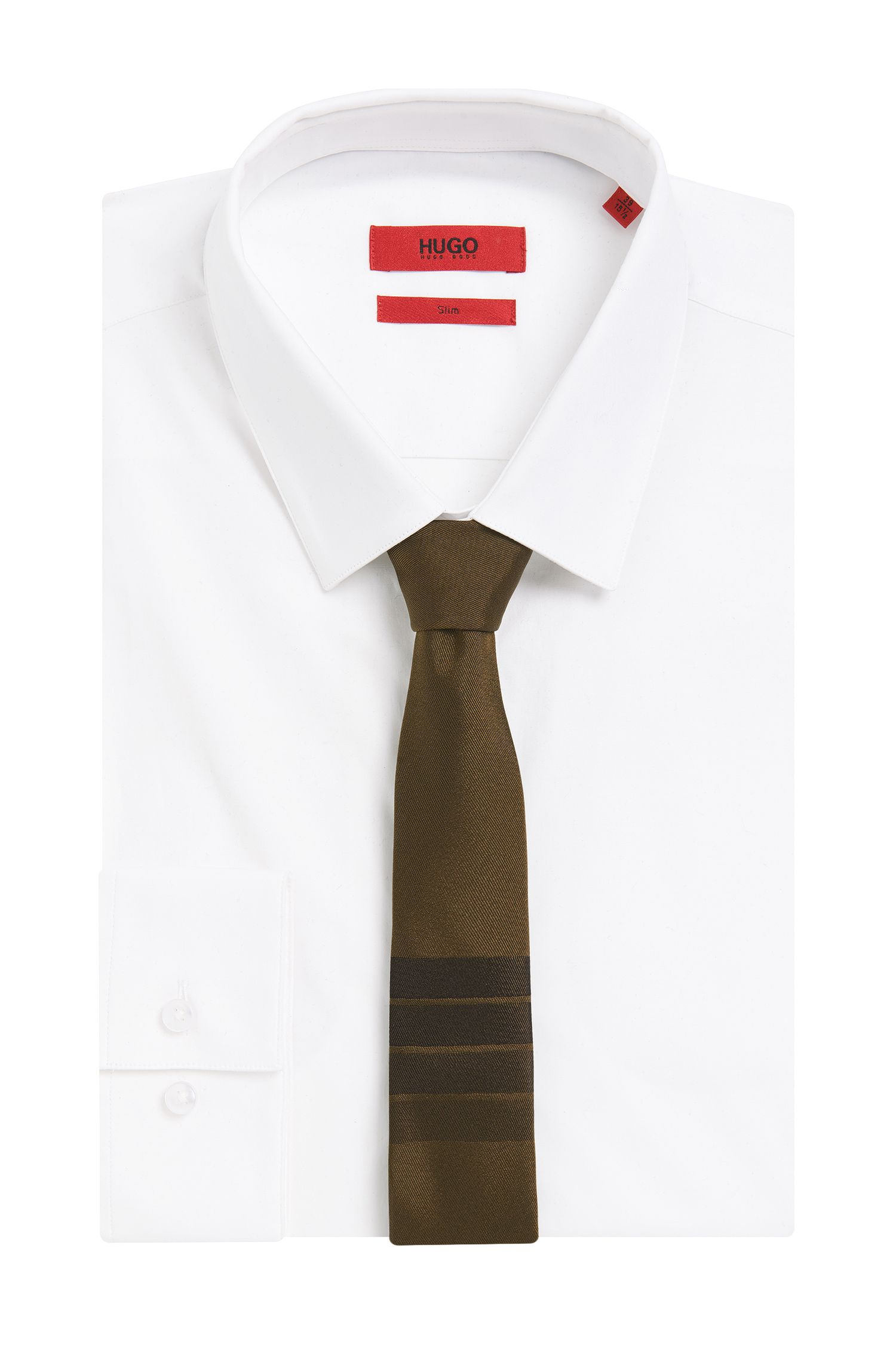 Effen stropdas van zijde met streepdetail: 'Tie 6 cm'