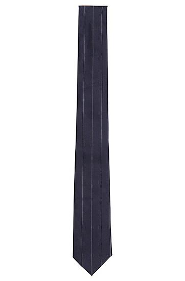 Fein gestreifte Krawatte von HUGO aus reiner Seide: 'Tie 6 cm', Dunkelblau