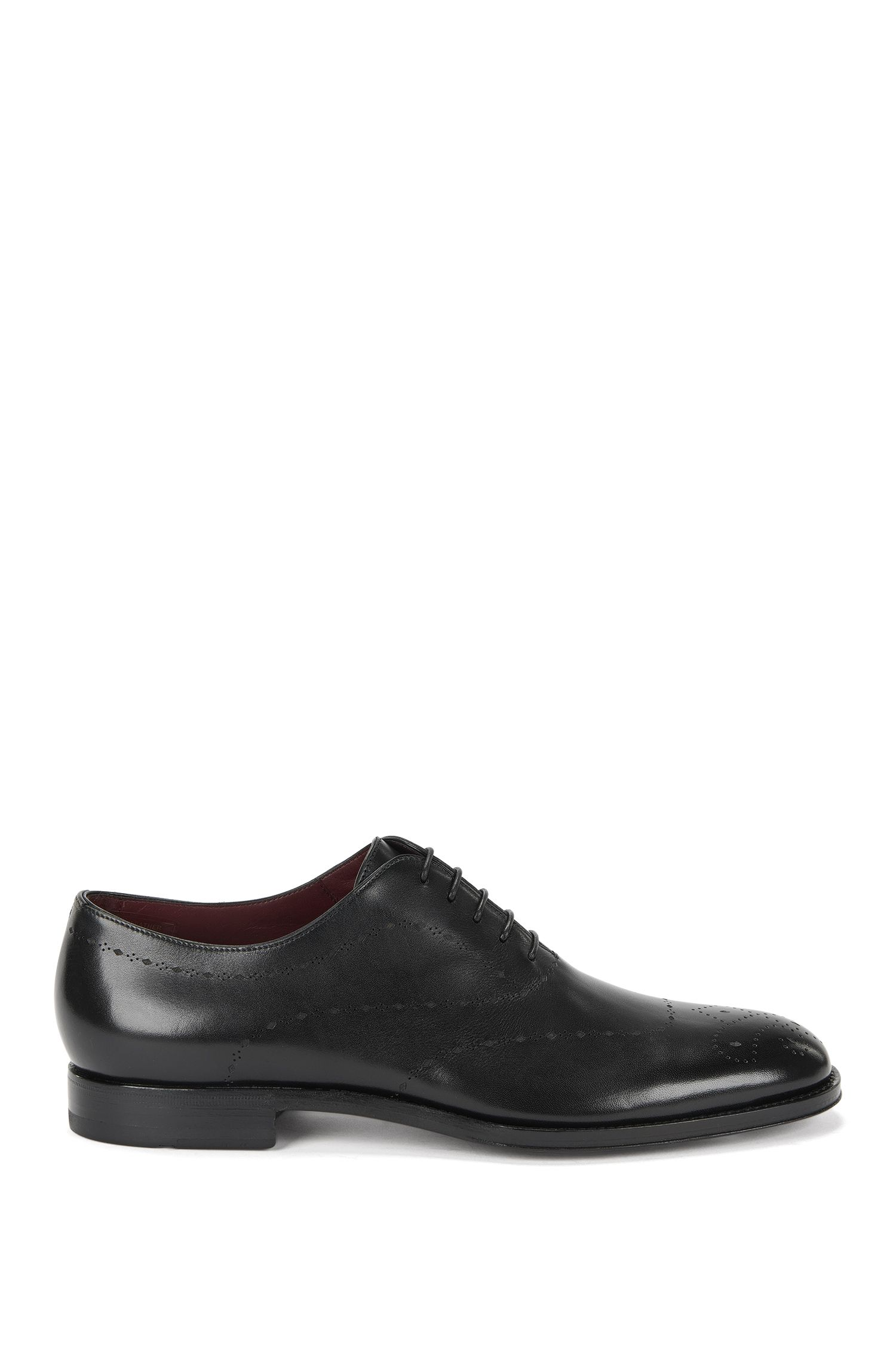 Leather lace-up shoes with perforated patterning: 'T-Sartoria_Oxfr_lt'