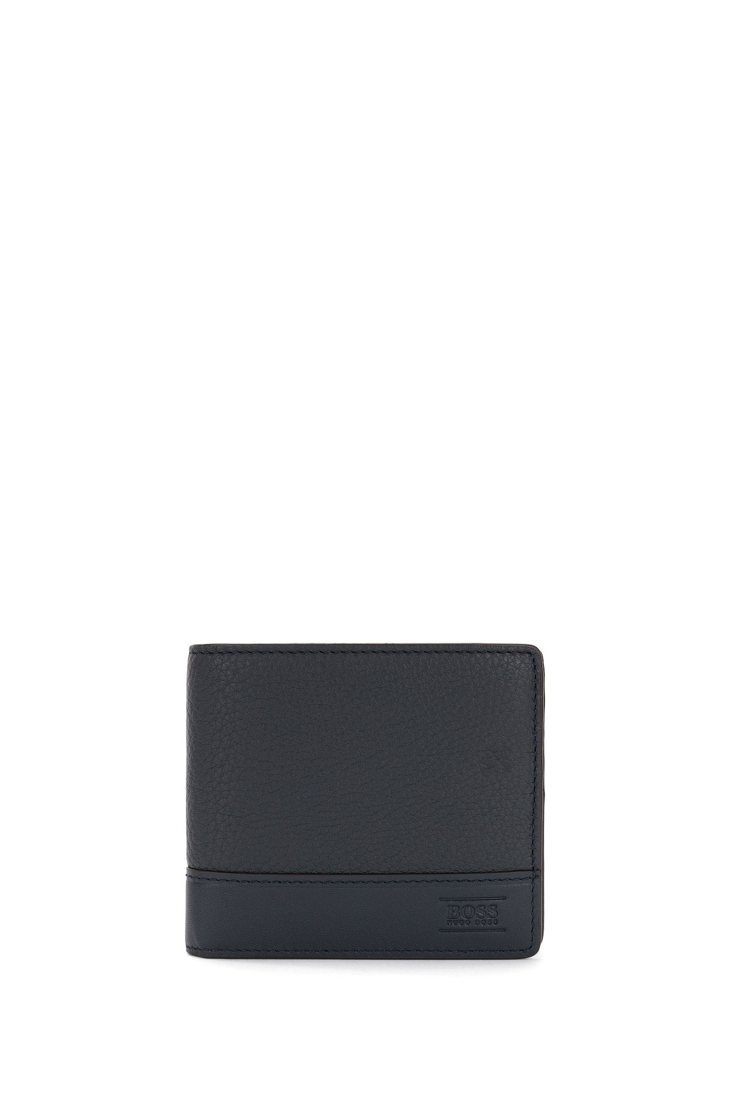Wallet in textured leather with embossed logo: 'Aspen_8 cc'