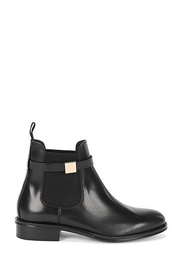 Chelsea Boots aus Leder mit dekorativer Metallschnalle: 'Chelsea-H', Schwarz