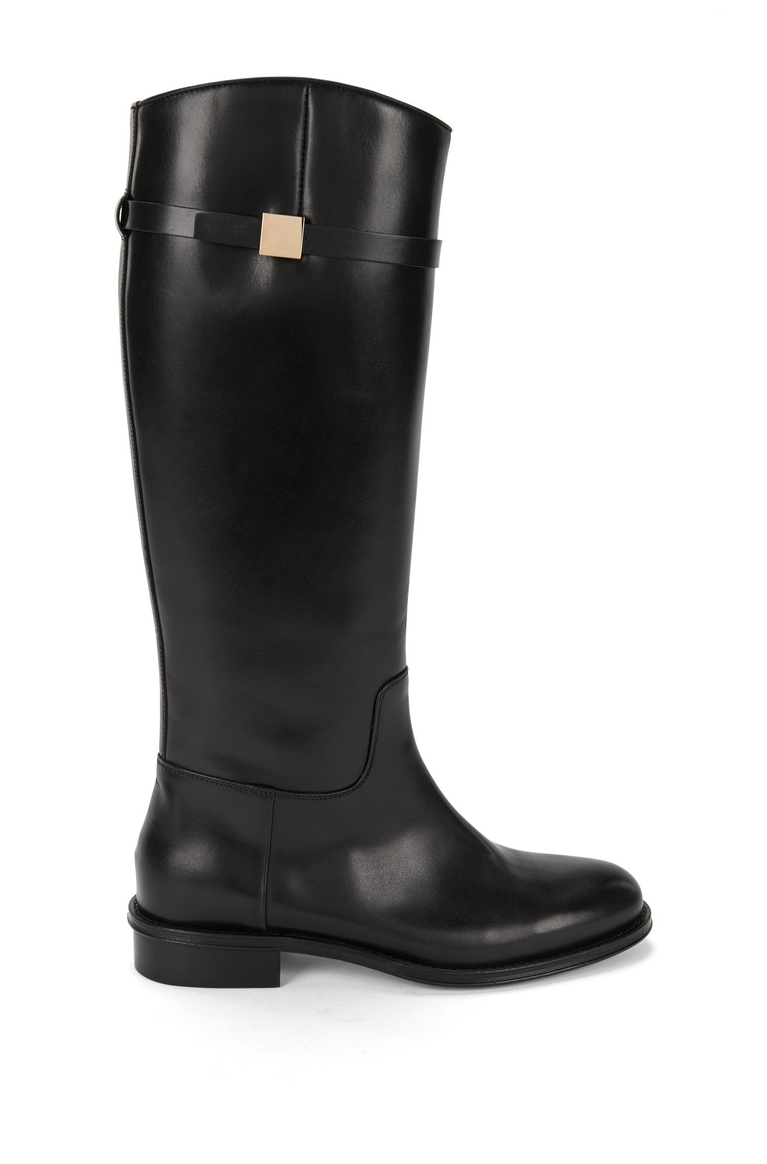 Flache Stiefel aus glattem Leder: 'Pin Riding Boot'