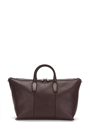 Leather weekender with shoulder strap: 'Elite_Holdall', Dark Red