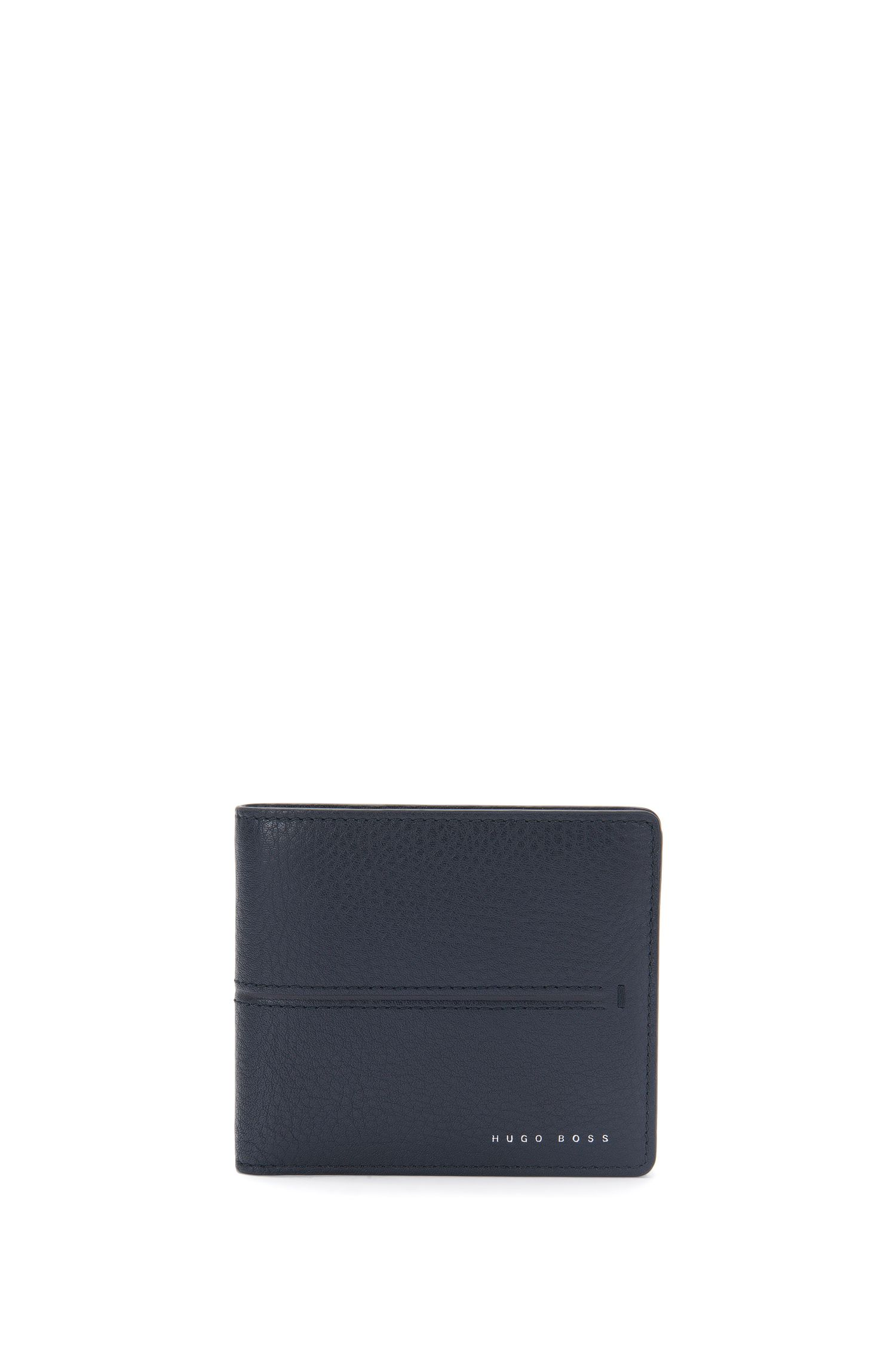 Leather wallet with embossed stripes: 'Elite_8 cc'