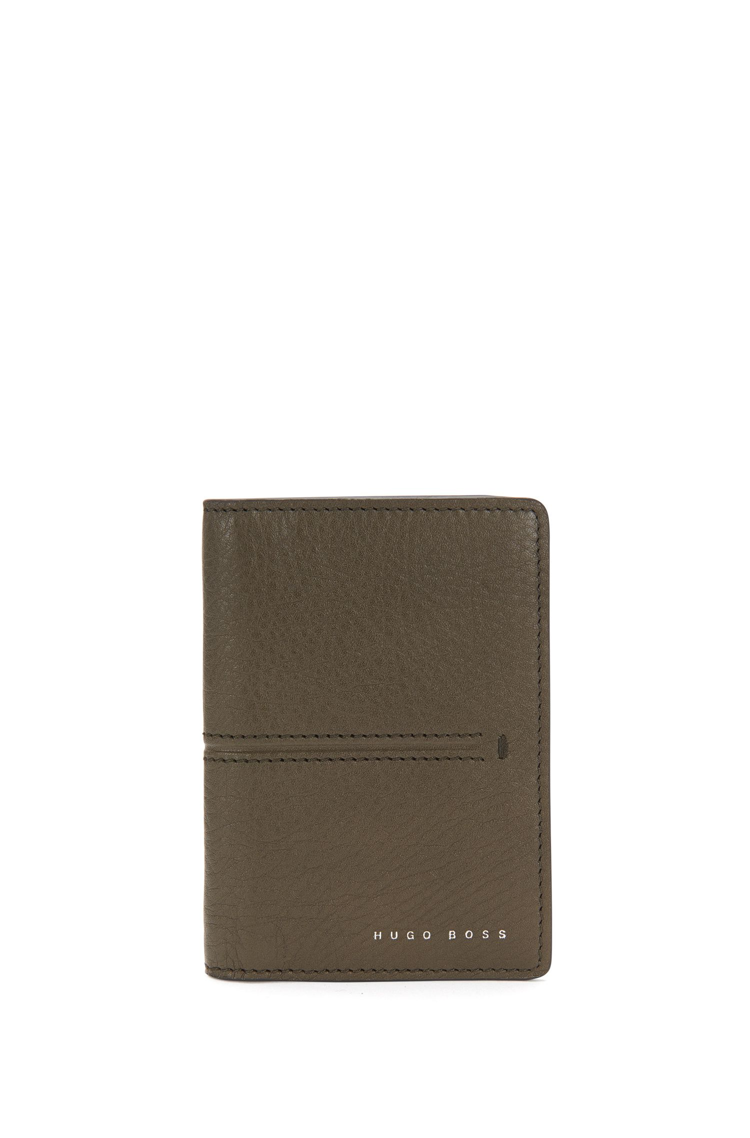Leather card case with embossed stripes: 'Elite_B card'