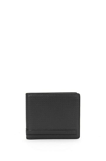 Set mit Geldbörse und Kartenetui aus geprägtem Leder: 'GbB16PF_8 cc S card', Schwarz