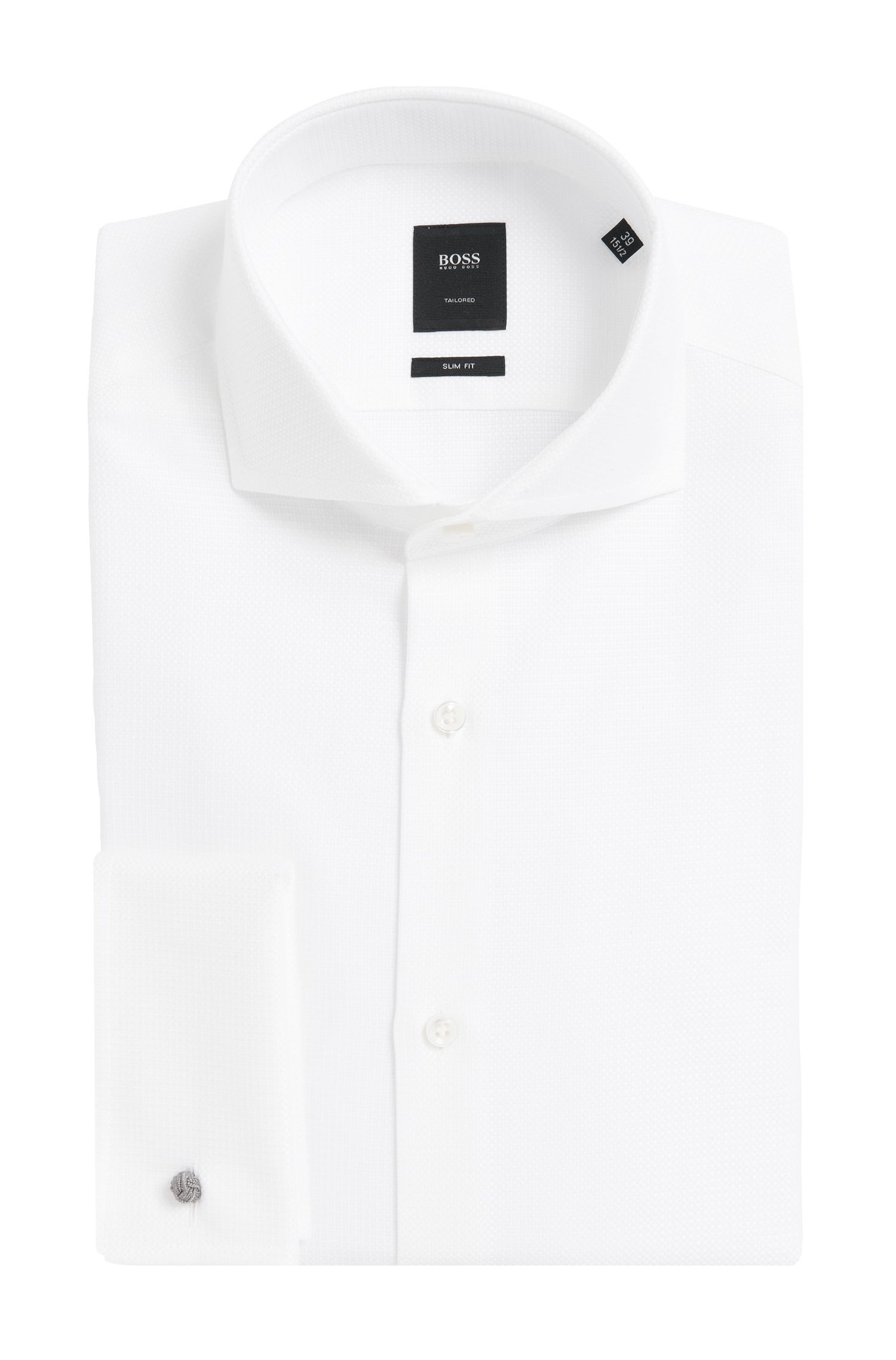 Chemise Slim Fit Tailored en coton à poignets mousquetaires : « T-Yacob »