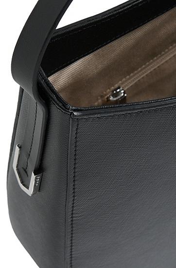 Hobo-Bag aus Leder mit Saffiano-Prägung: 'Noble', Schwarz