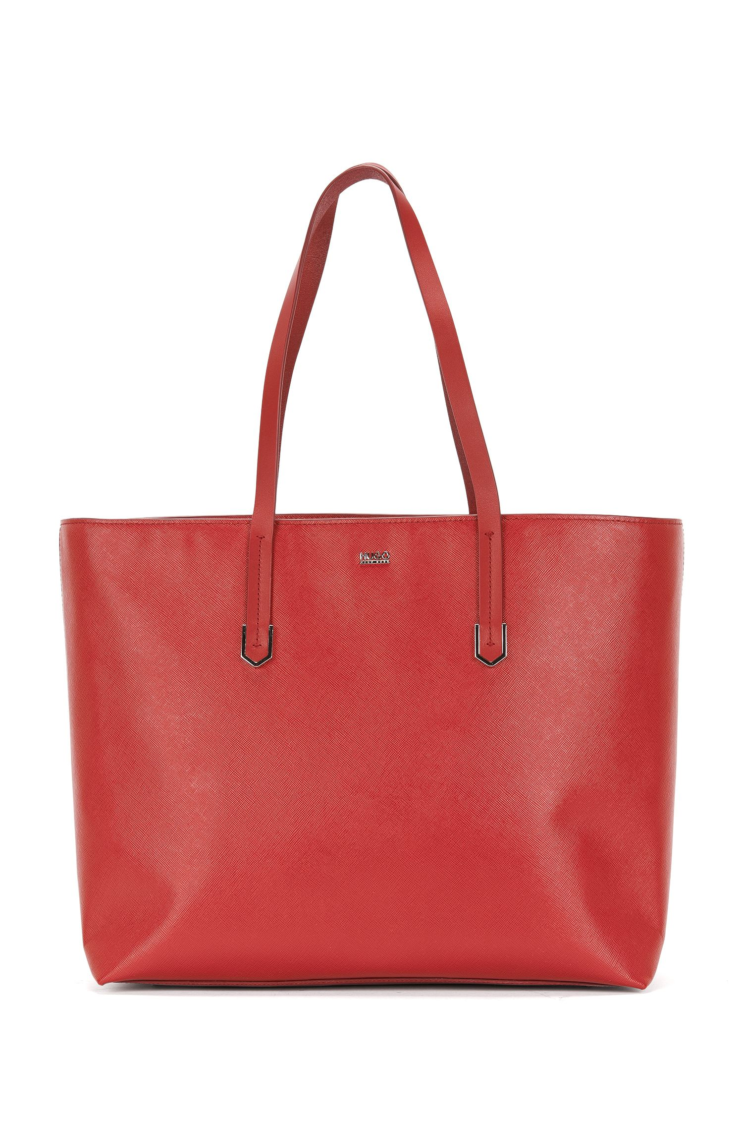 Plain shopper in leather with Saffiano print: 'Nadalia-S'