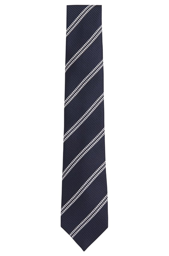Patterned tie in pure silk: 'T-Tie 7.5 cm', 416_Dark Blue