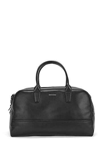Weekender bag in grained leather: 'Element_Holdall', Black