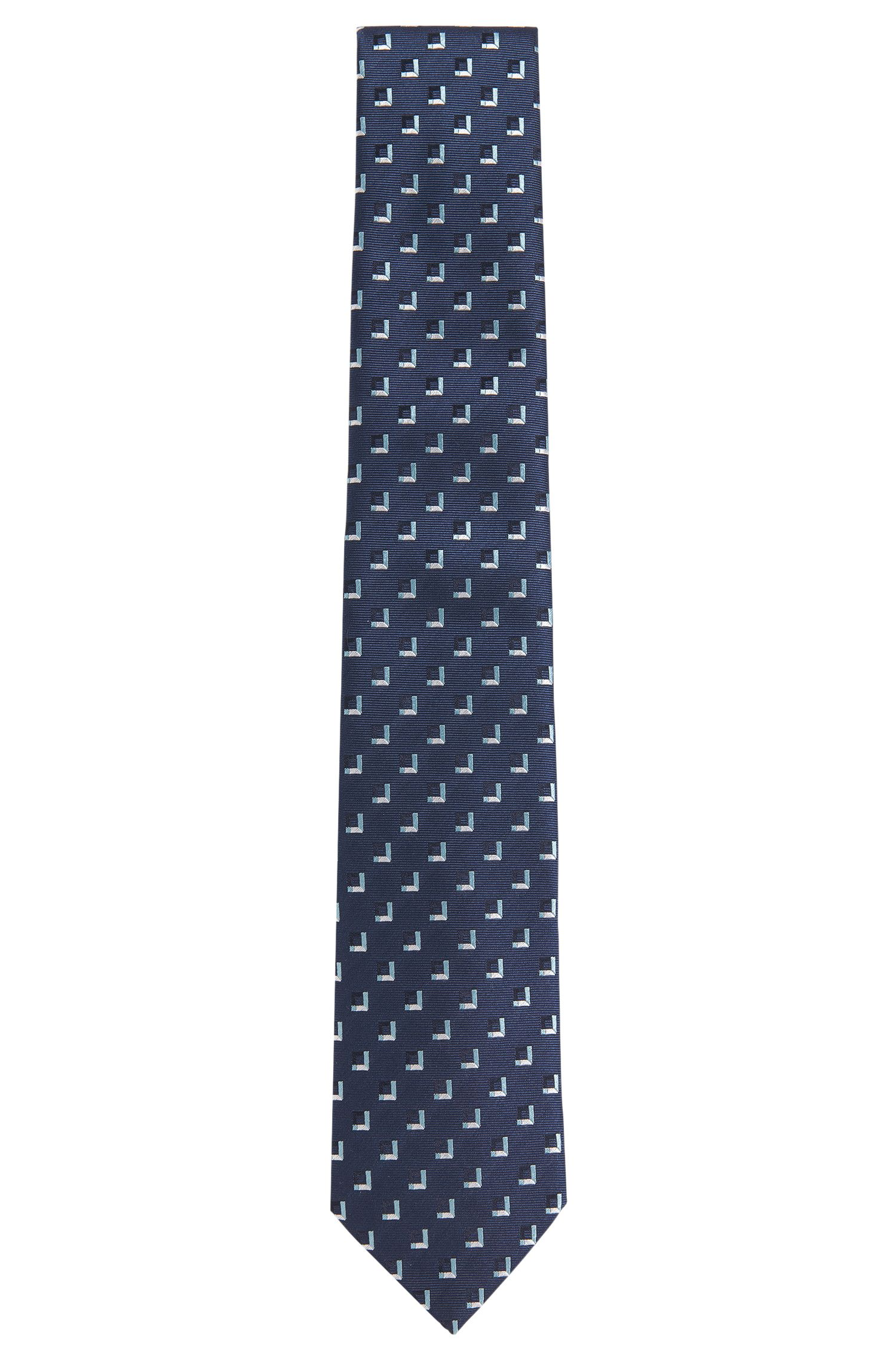 Zijden stropdas met geometrisch dessin: 'T-Tie 7.5 cm'