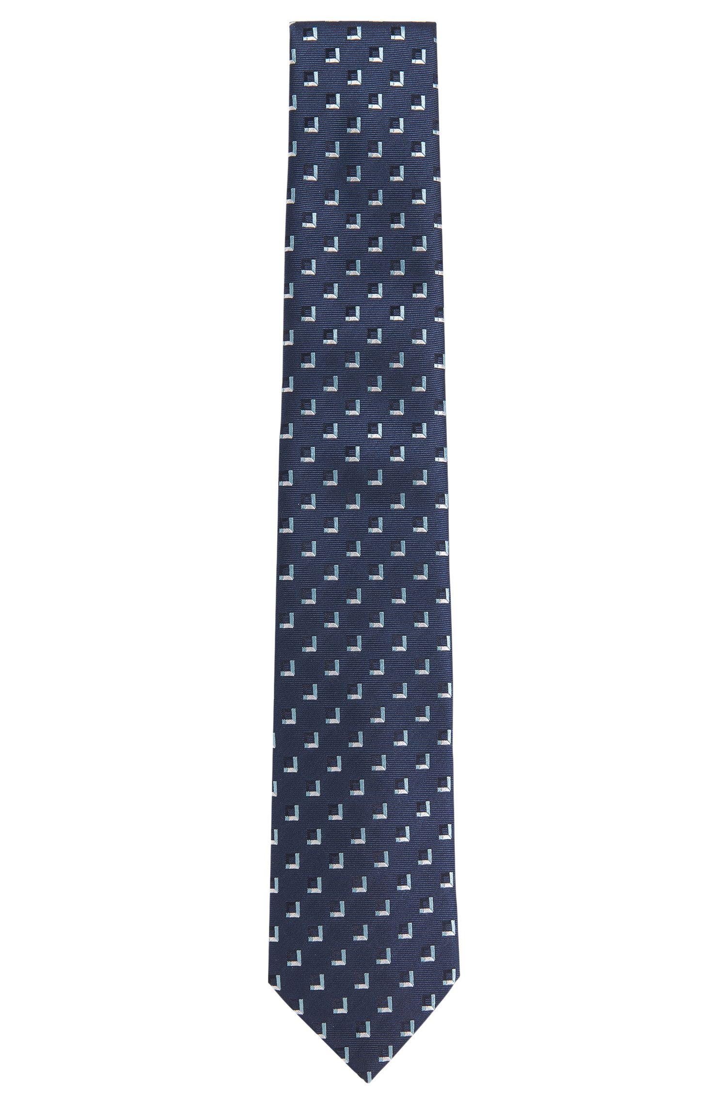 Silk tie with a geometric pattern: 'T-Tie 7.5 cm'