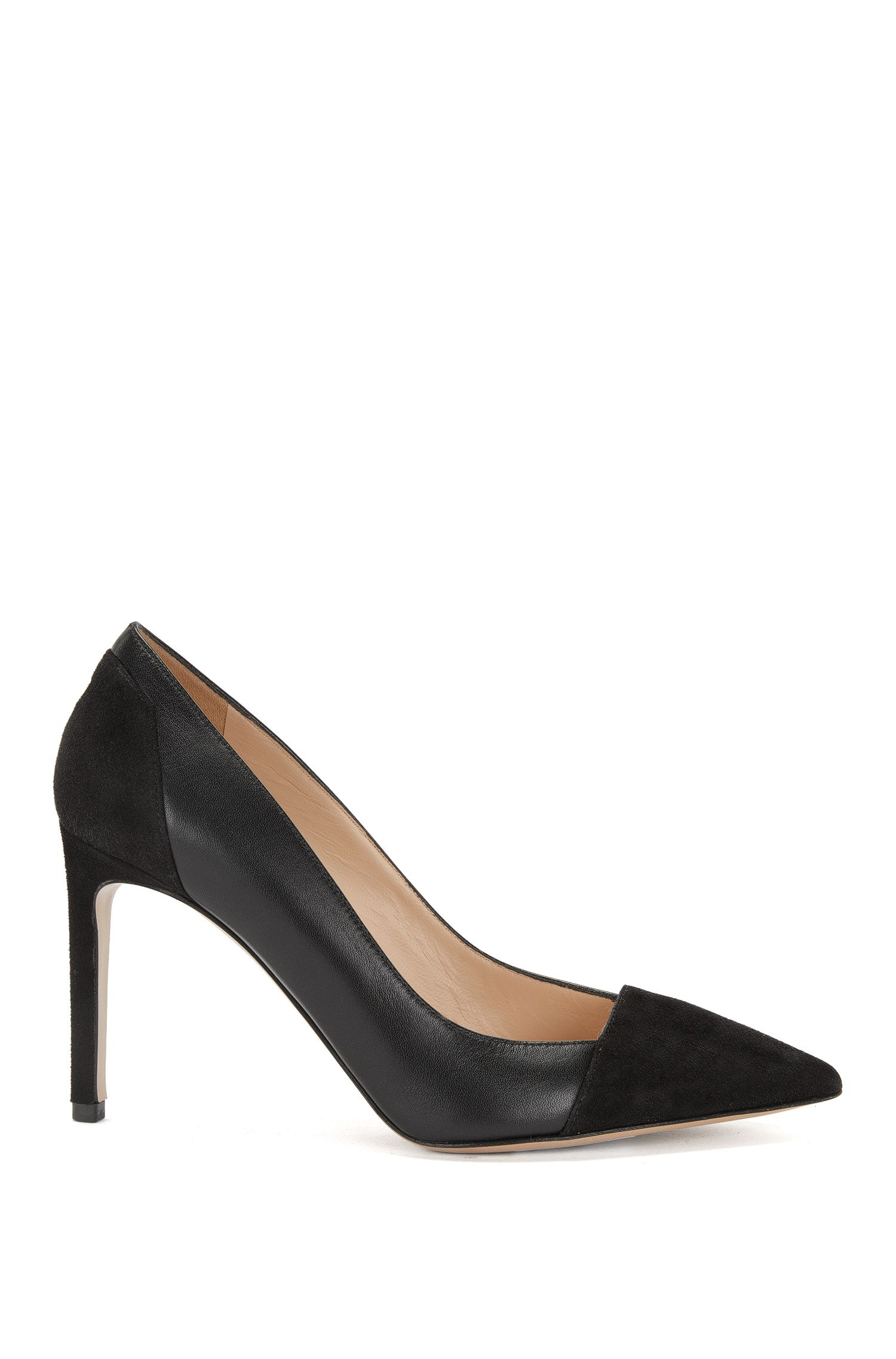 Leather pumps with a kitten heel: 'Encant'