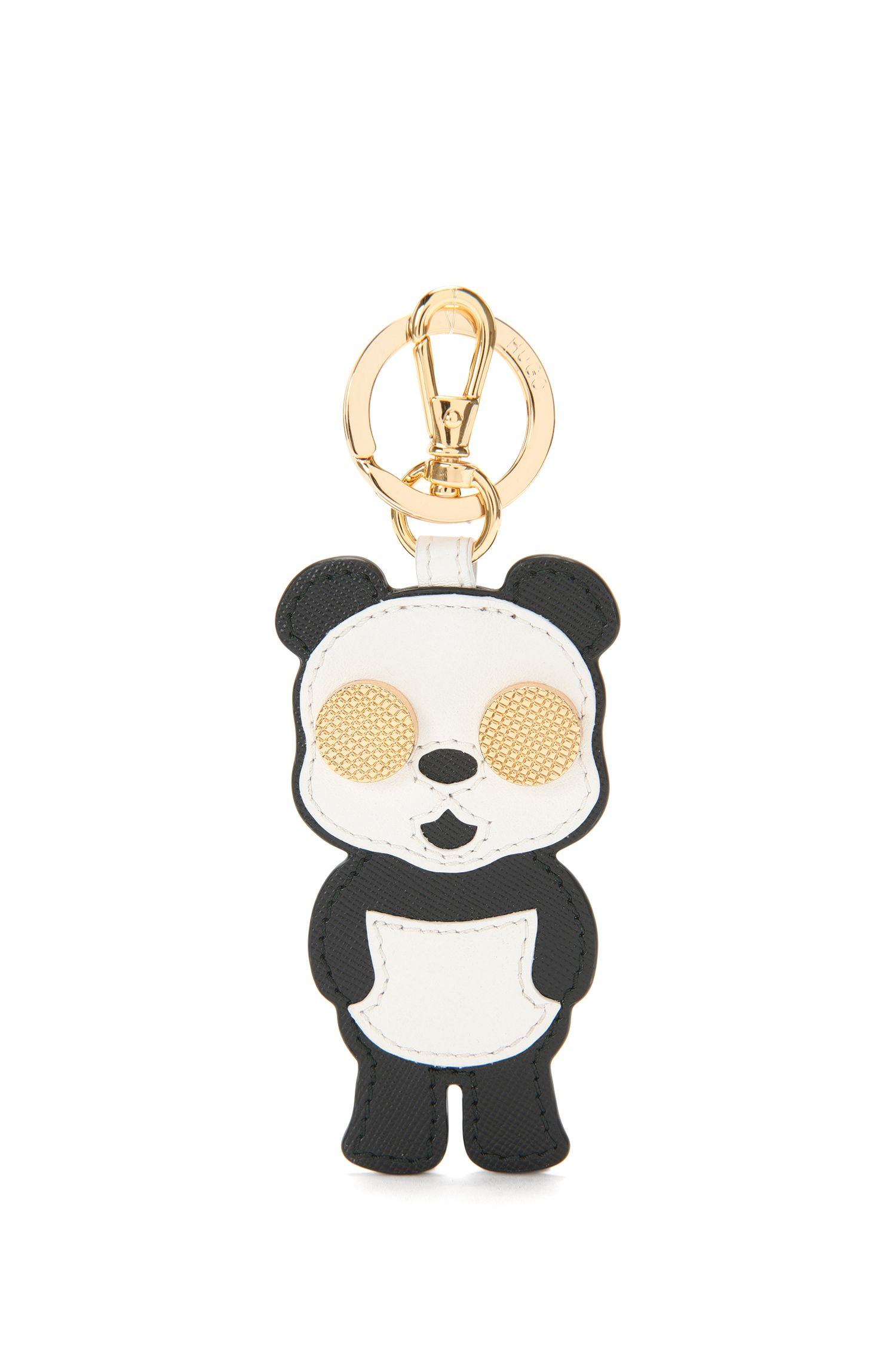 Leather key ring with a panda pattern: 'Kiki'