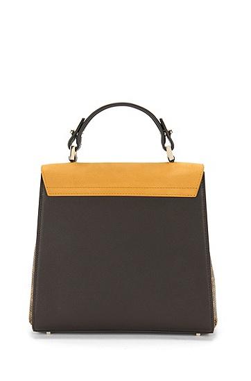BOSS Bespoke Handtasche aus Leder im Struktur-Mix, Dunkelgelb