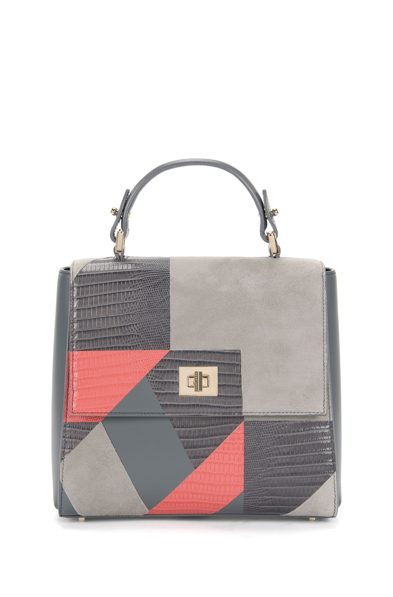 Small BOSS Bespoke leather handbag in a mixture of textures