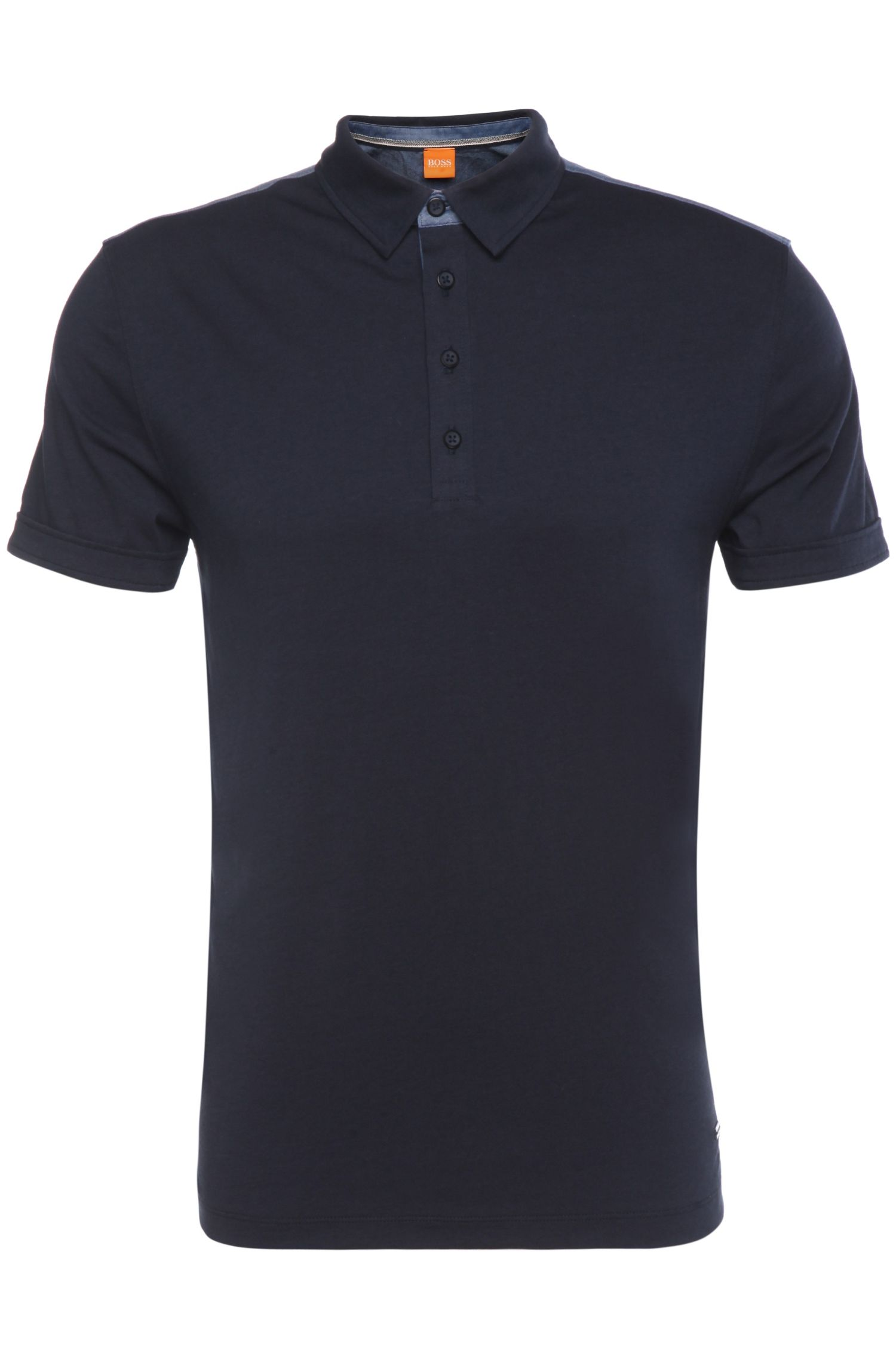 Regular-fit polo shirt in cotton blend: 'Pyntax'