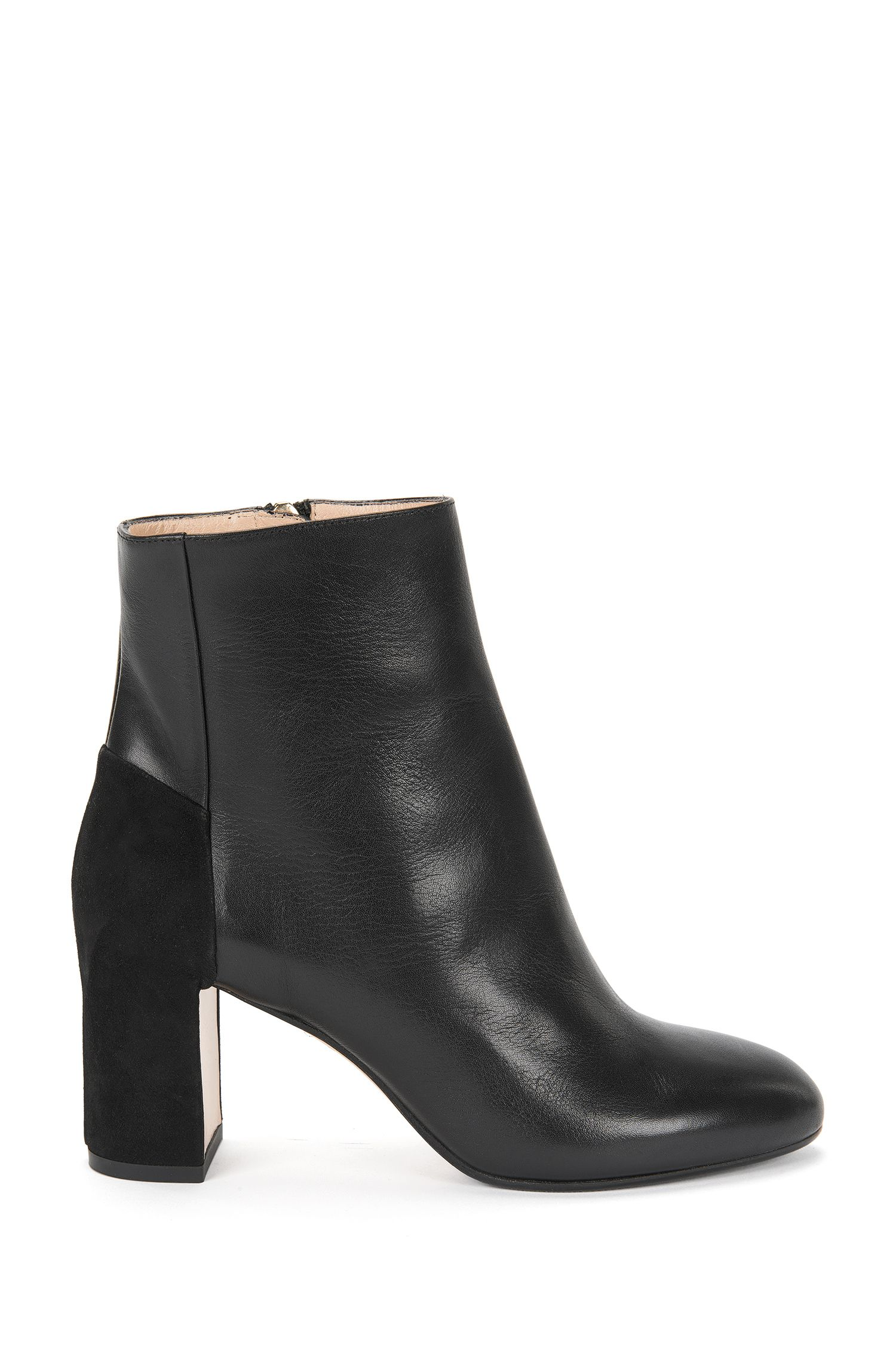 Grained leather ankle boots with block heel: 'Eloen'