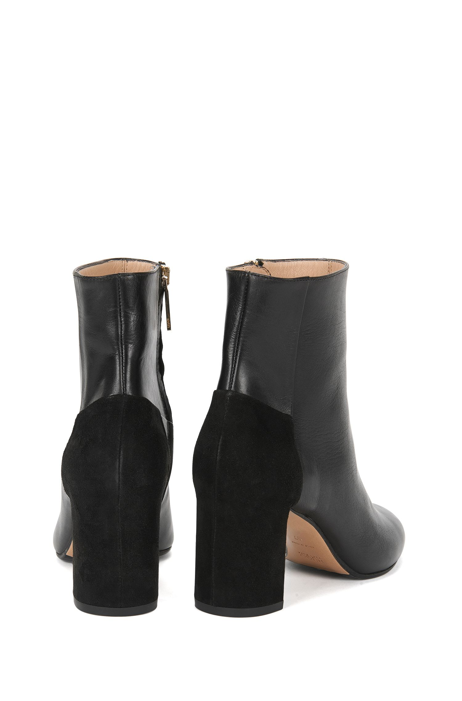 Gemasterte Leder-Stiefeletten mit Blockabsatz: 'Eloen'
