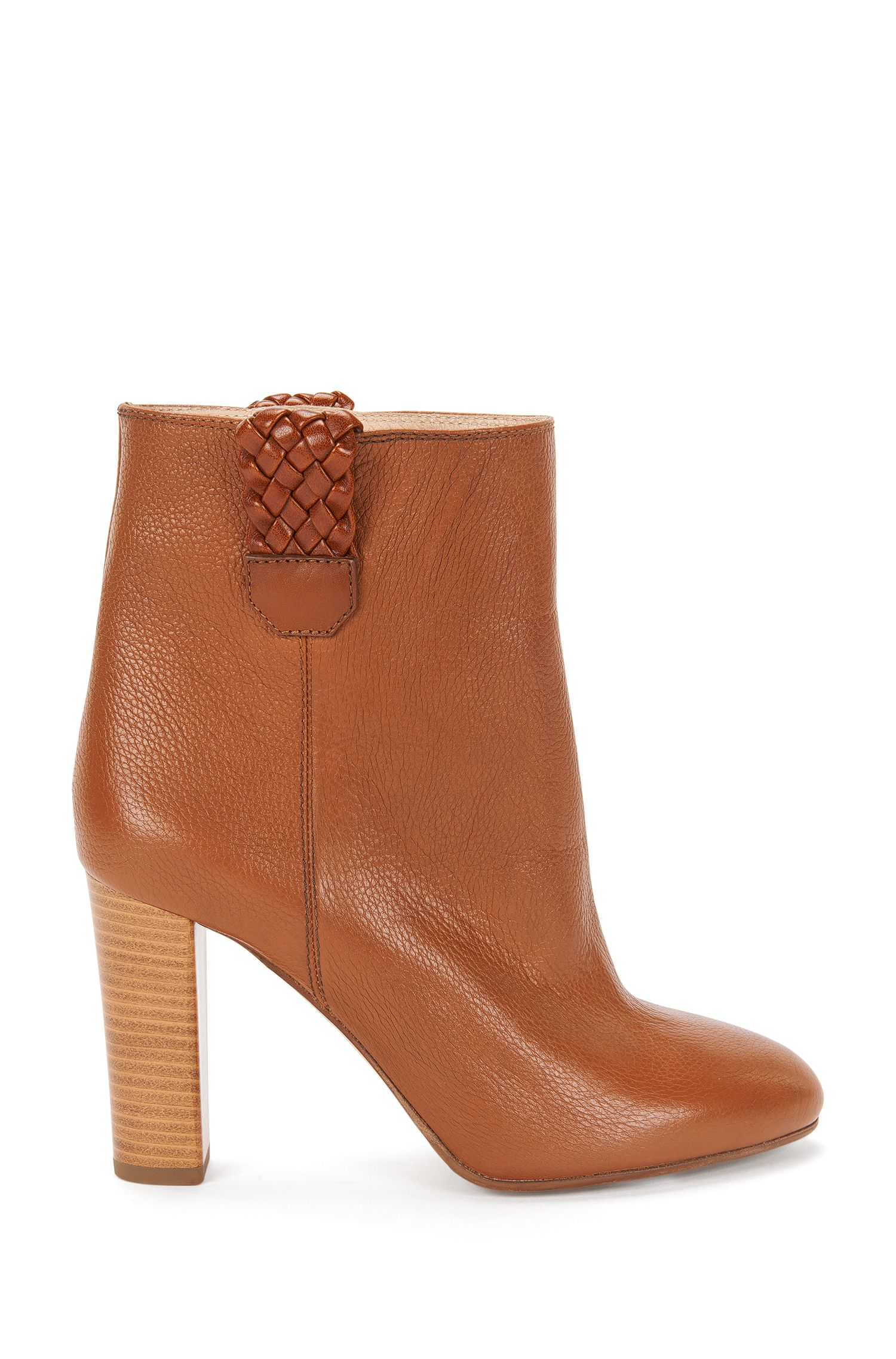 Leather ankle boots with braided details: 'Geller'