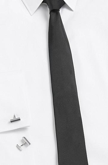 Manschettenknöpfe aus Messing mit Kontrast-Detail: 'Xavier', Schwarz
