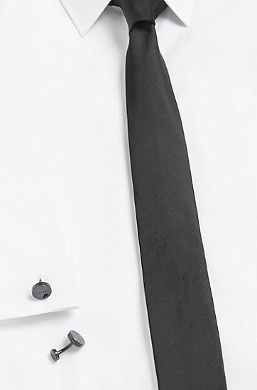 Runde Manschettenknöpfe aus Messing mit Logo-Gravur: 'Jace', Schwarz