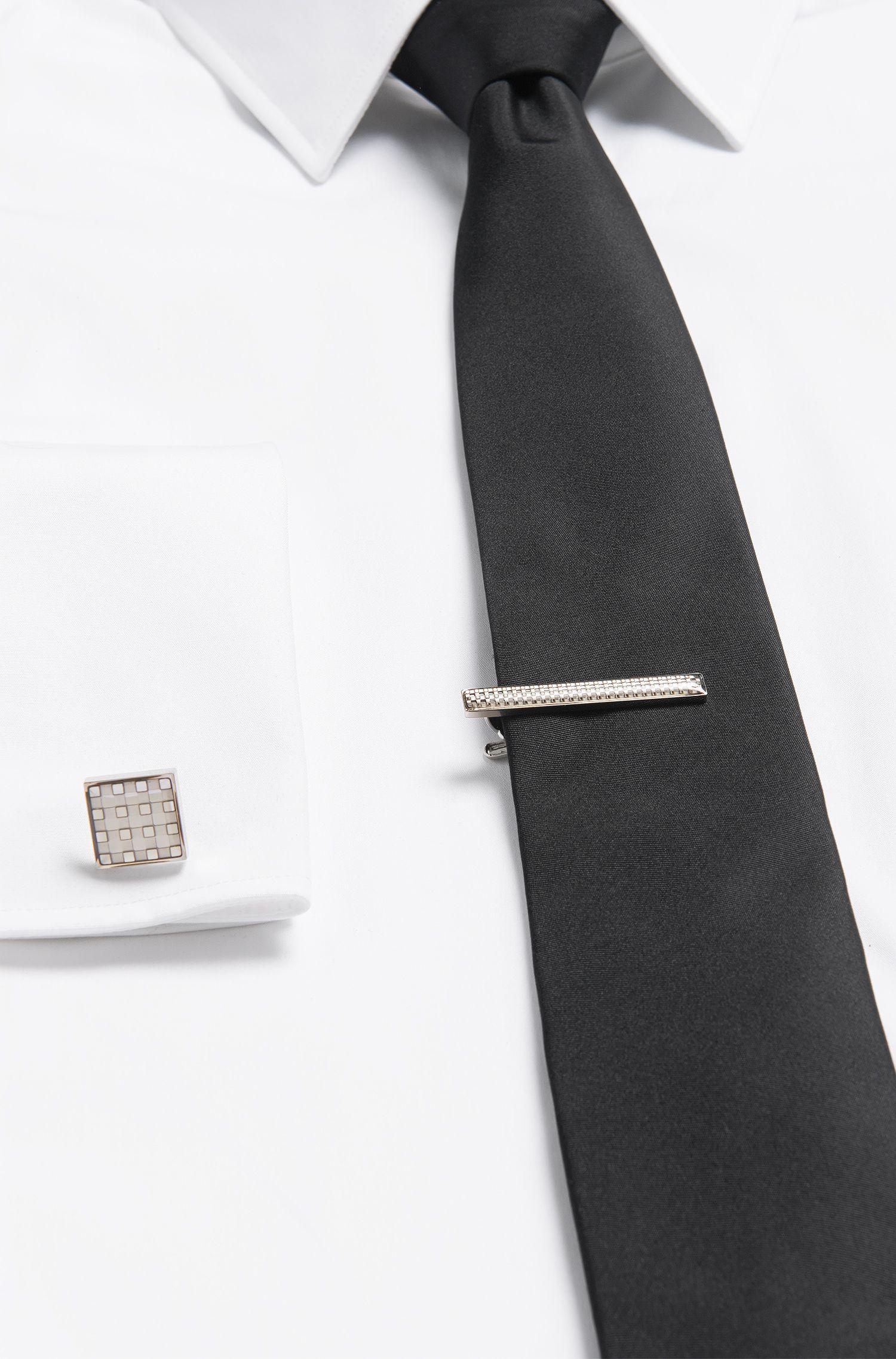 Pince à cravate en laiton à motif échiquier: «Terry»