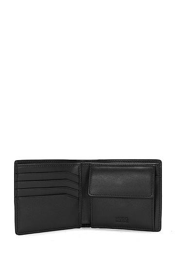 Geldbörse aus genarbtem Leder: 'Element_4 cc coin', Schwarz