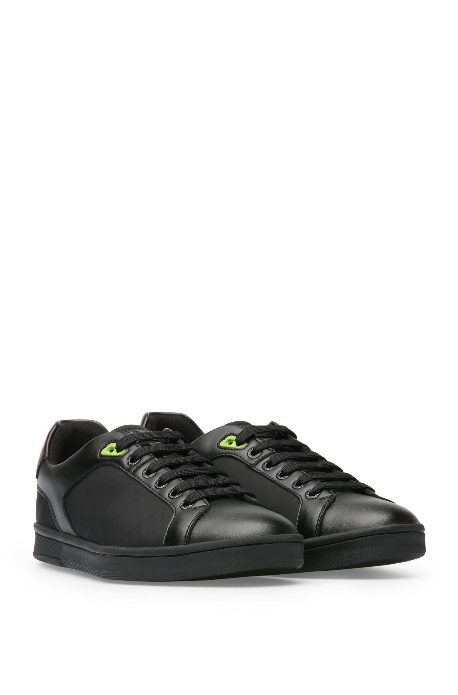 Sneakers in leerlook met delen van textiel: 'RayAdv_Tenn_nypr'