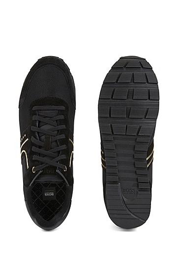 混合材质轻质系带运动鞋,  008_黑色