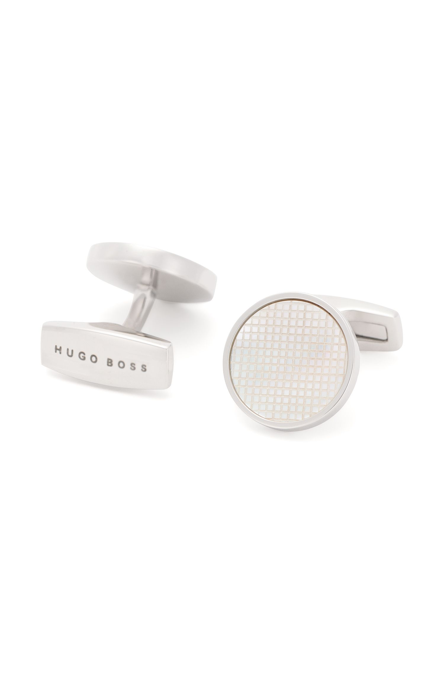 Round cufflinks with textured mother-of-pearl inserts: 'T-Herbert'