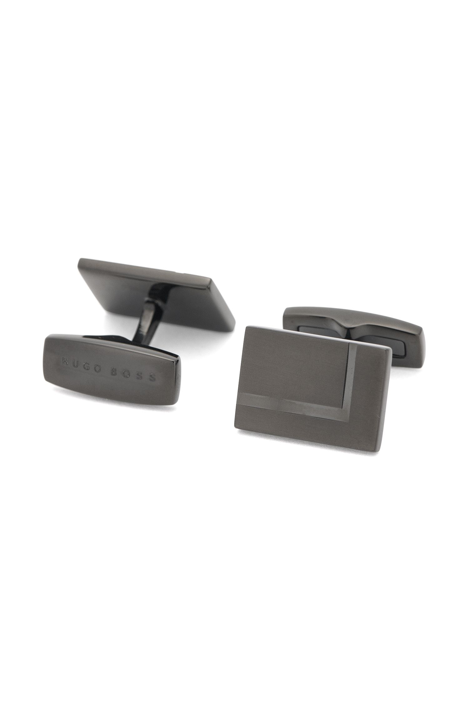 Square cufflinks in blackened brass: 'T-Marcus'