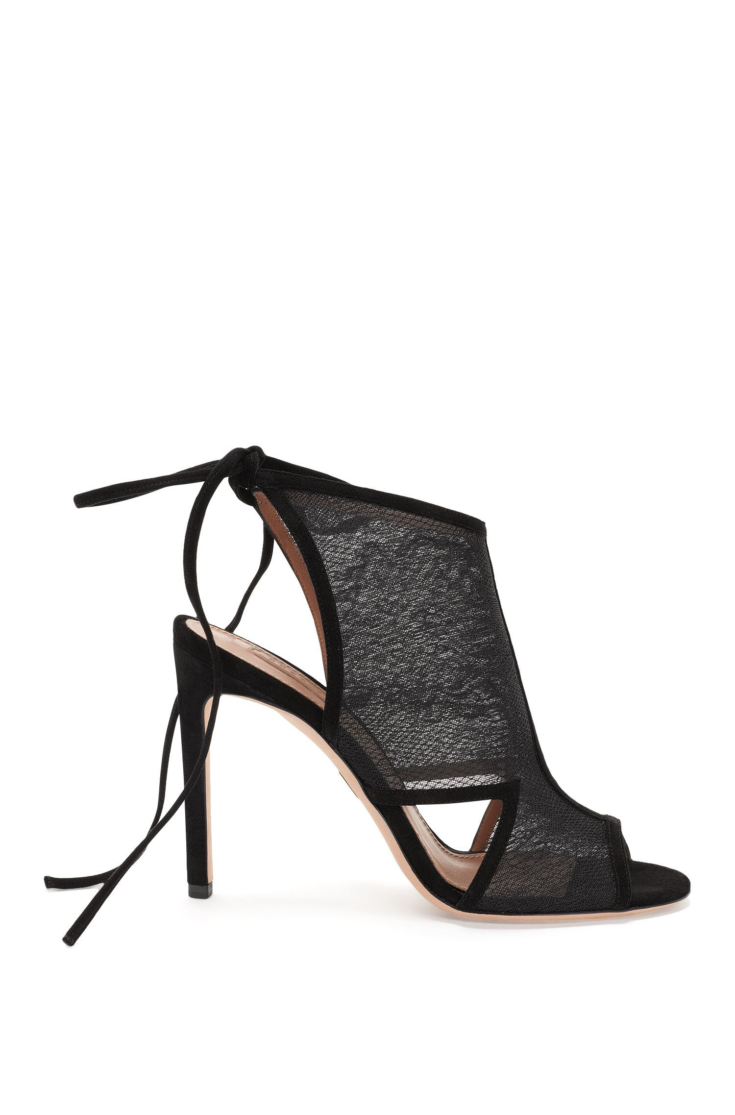 High-heeled sandals with a pointed front and lacing on the back: 'Lady Sandal 100'