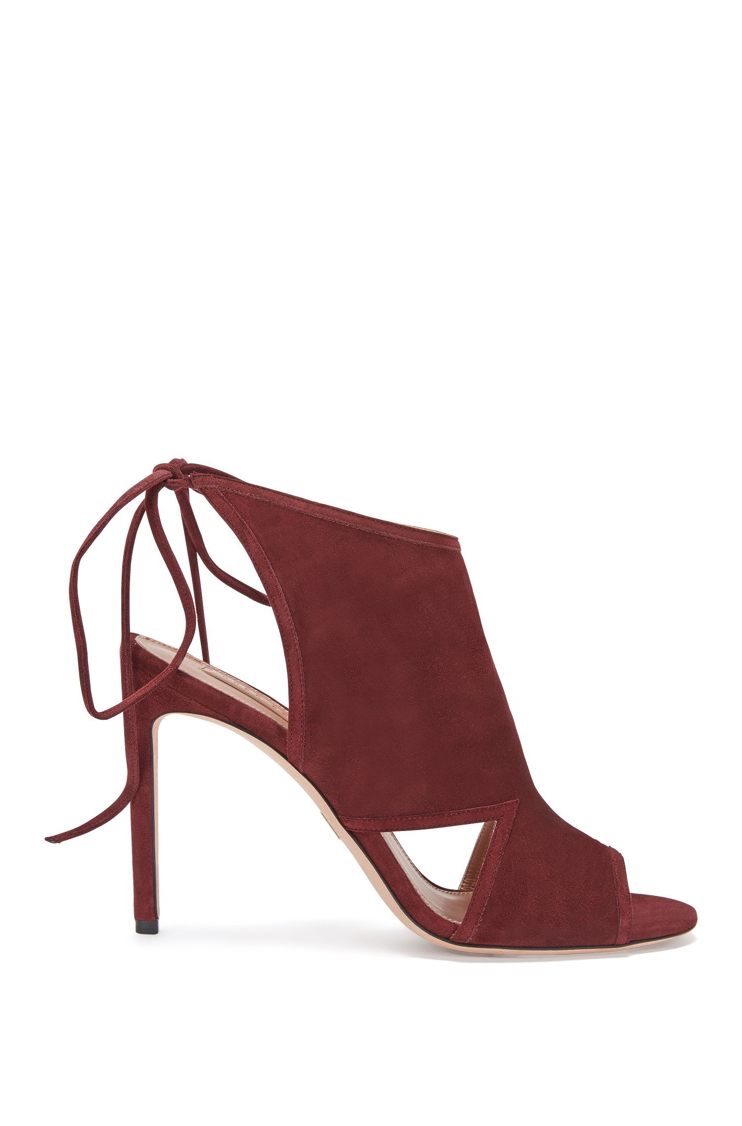 Suede high-heeled sandals with lacing: 'Lady Sandal 100'