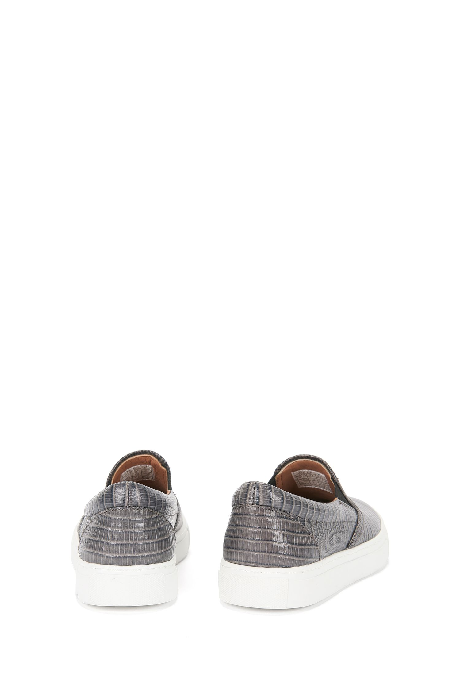Schnürlose Sneakers aus geprägtem Leder: 'Slip On-L'
