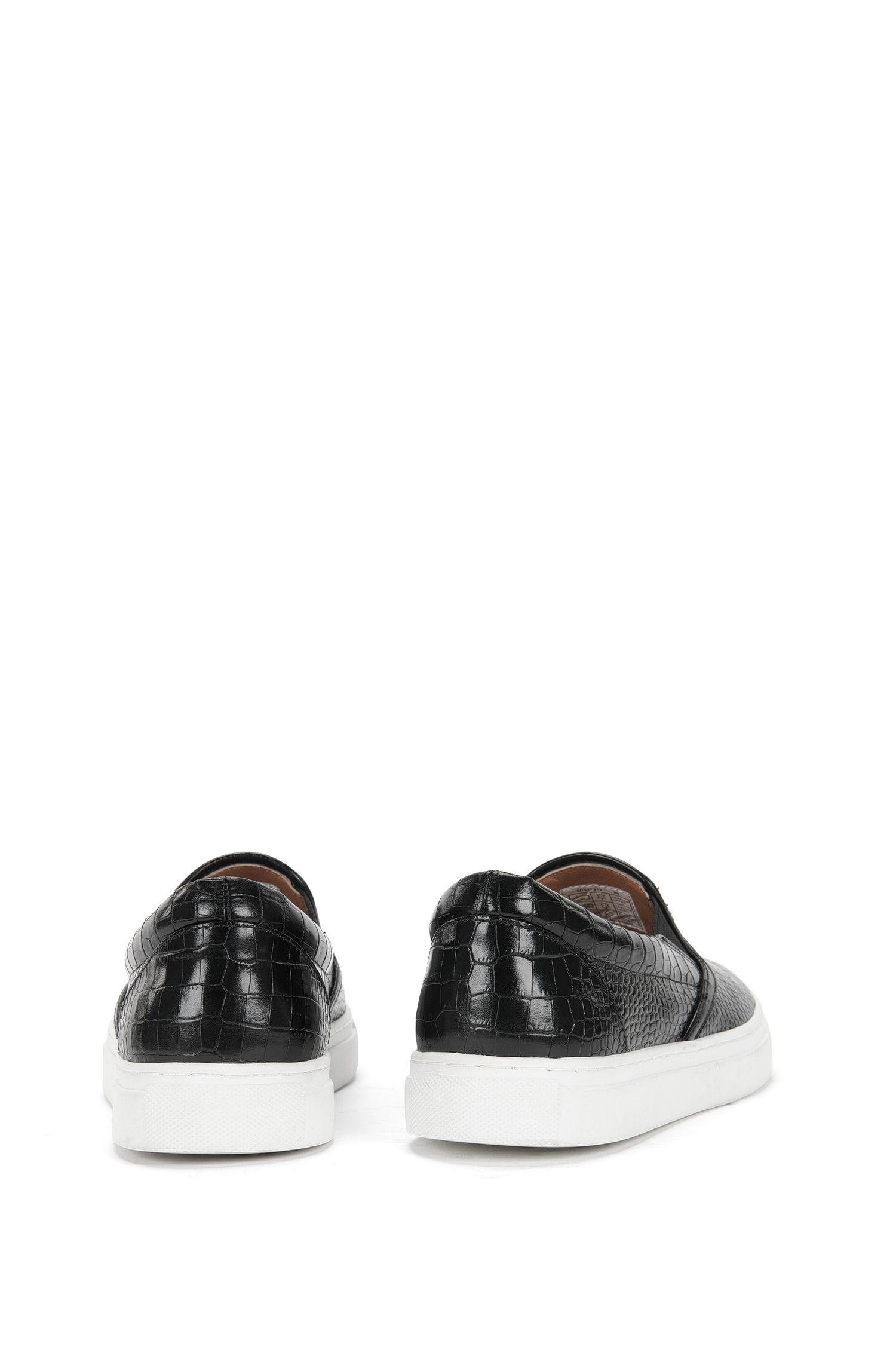 Schnürlose Sneakers aus geprägtem Leder: 'Slip On-CL'