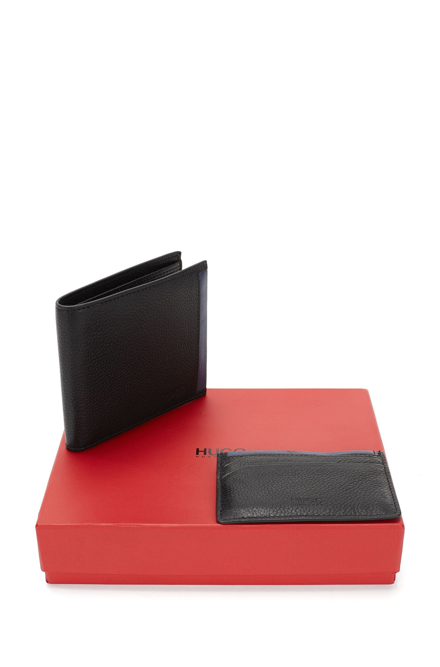 Set with a wallet and card case in leather: 'GbH16PF_8cc S card'