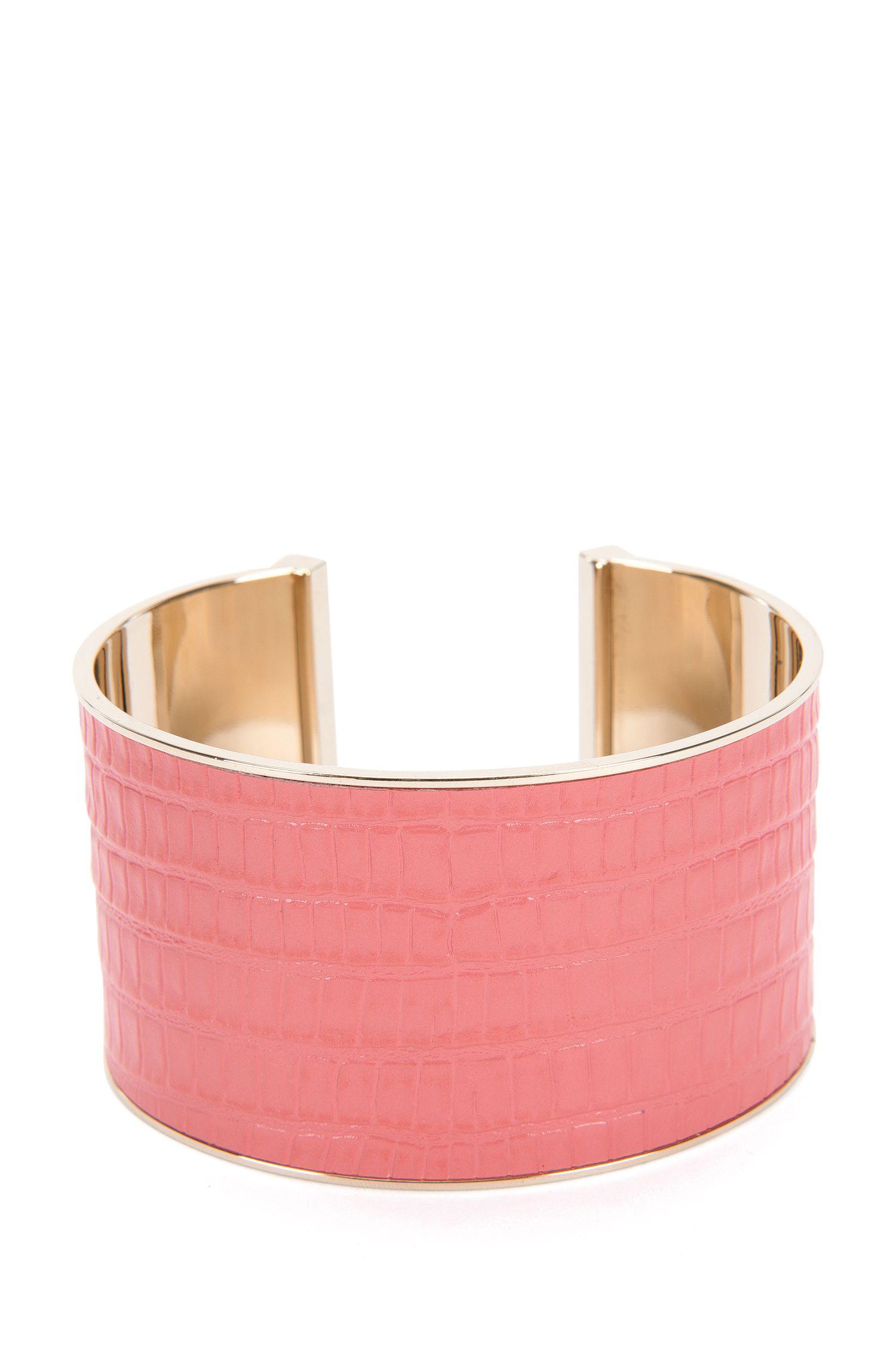 Armband van messing met leren garneersel: 'Tailor Bracelet-L'
